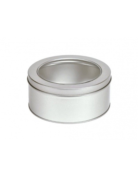 Round Silver Tin with lid and window - 100grs