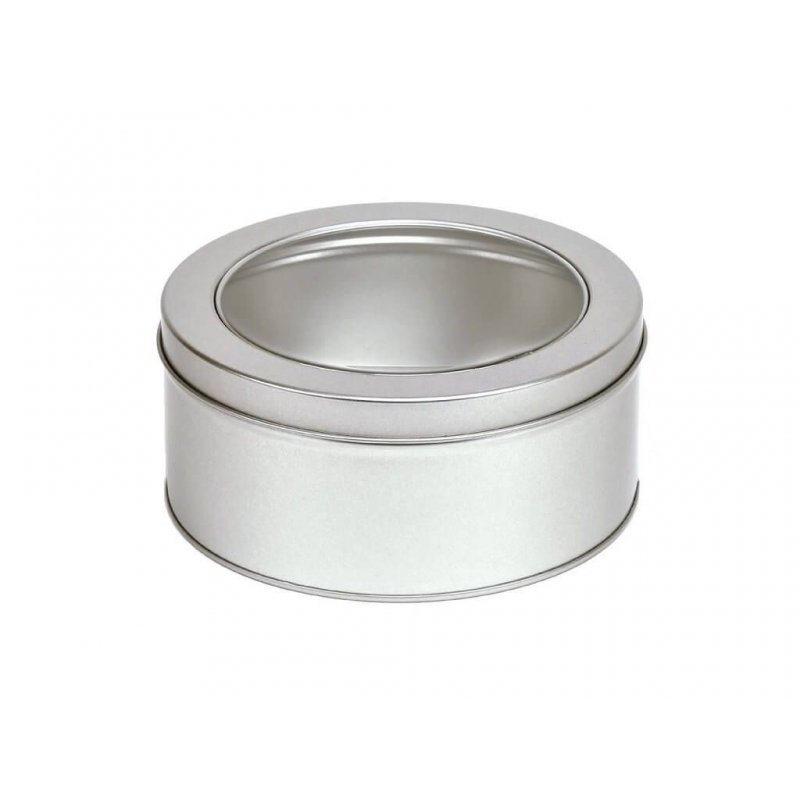 Round Silver Tin Lid and window - 100grs