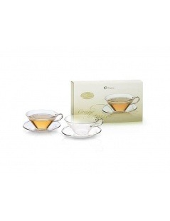 Glass Cups with saucer Creano - 2 x 100ml