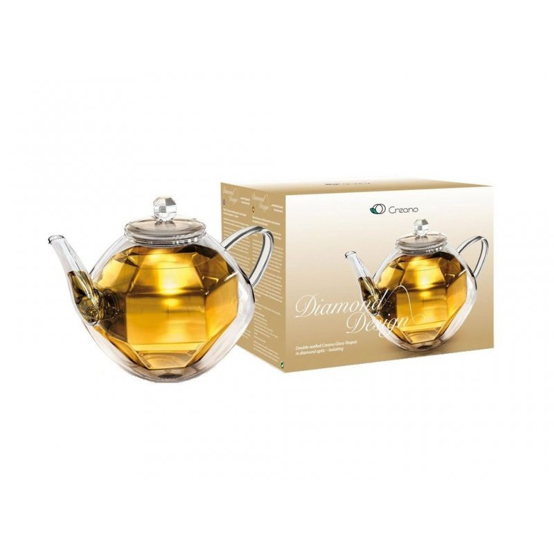 Double Wall Glass Teapot - Diamond Design 800ml