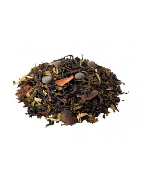 Schwarzer Tee mit Schokolade und Minze