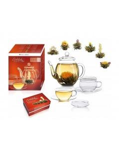 Set mit Teekanne, Tassen, und 6-Blumen-Tee