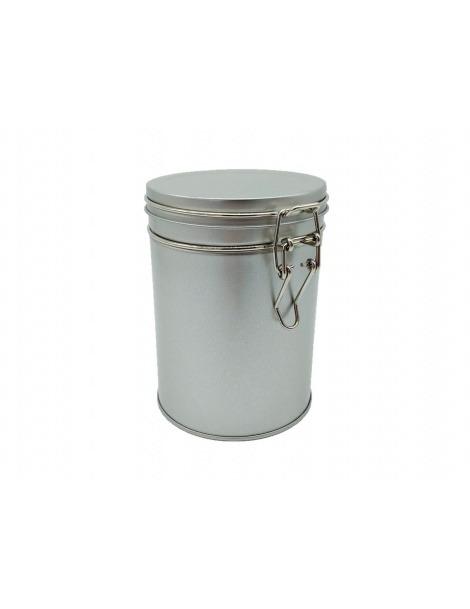 Boîte Métallique Ronde argentée avec couvercle à clip - 200grs
