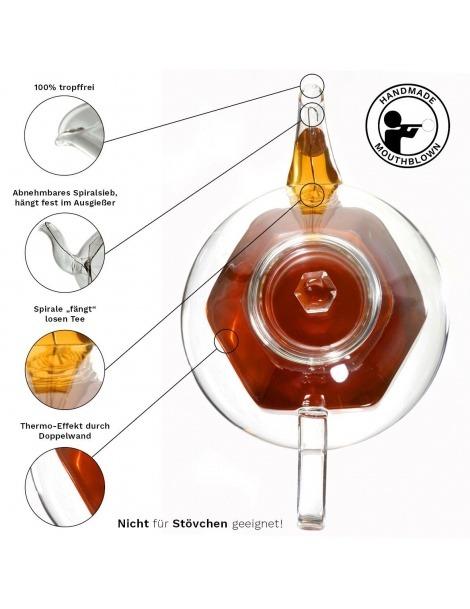 Bule de Vidro Duplo - Diamante Design 800ml