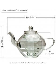 Tetera de Cristal Doble Diamante Diseño 800ml
